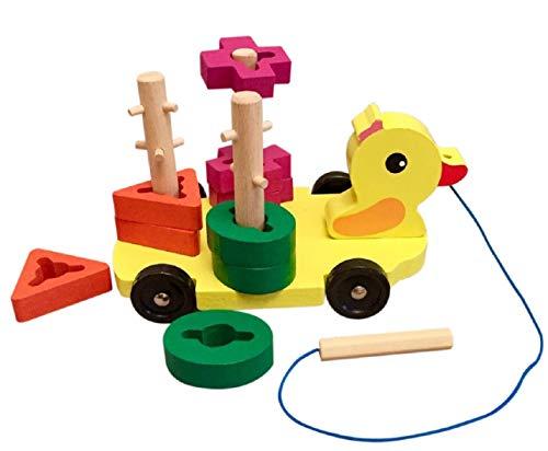 Lalia Nachzieh Ente mit Steckbausteinen bunt Nachziehspielzeug Holzspielzeug Transporter Steckspiel Motorik Motorikwürfel Tier Geschenk für Kleinkinder Kinder ab 3 Jahren