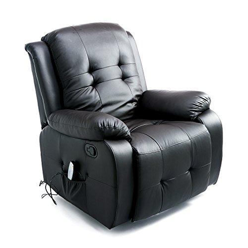 Homcom® Massagesessel mit Heizfunktion Fernsehsessel Relaxsessel TV Sessel mit Fernbedienung (Schwarz)