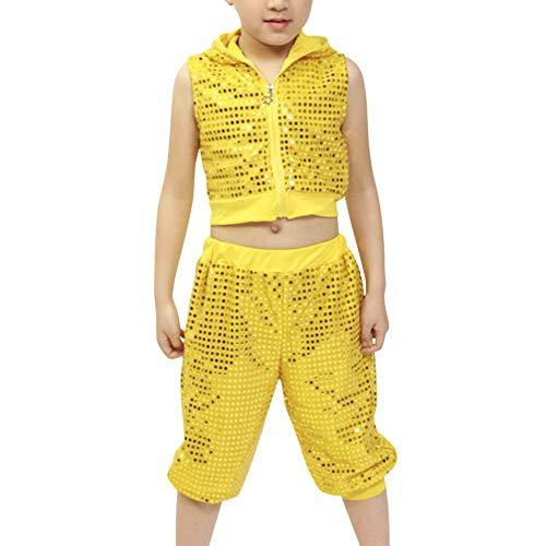 Tenthree Kinder Street Dance Kleidung - Jungen Mädchen Hip Hop Pailletten Kostüm Bühne Jazz Ballsaal Dancewear Mode Tops + ()