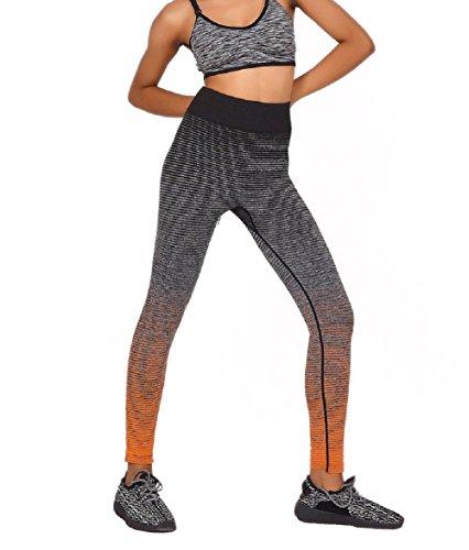Pantalons de Sport Femme SLEMON Legging de Sport Multicolore Elastique Pantalon Mince Rayés Pour Course Yoga Fitness Spotif Pilate Gymnase Orange