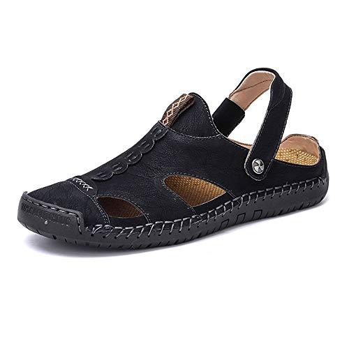 RONGLINGXING Mode Sommer im Freien beiläufige Sandelholze für Mann-Art- und Weisestrand-Hefterzufuhr-Komfort-leichte Schuhe Beleg auf Art-OCHSEN-Leder-Antikollisionszehen-seitlicher hohler doppelter Z