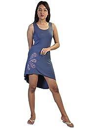 Robe sans manches bleu avec imprimé coloré à l'arrière