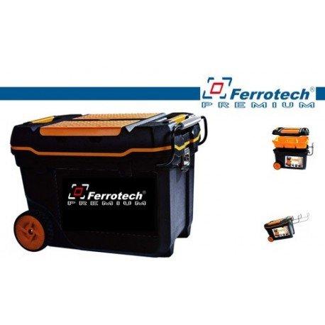 Ferrotech 1 Caja de Herramientas con Ruedas arcon Cierres metalicos asa de Transporte