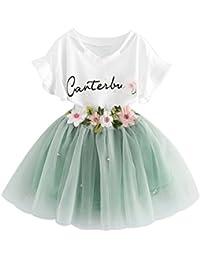 Brightup 2 piezas Niños Niñas Ropa conjunto Verano niños blusa Tops + falda trajes, camiseta