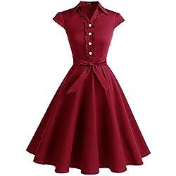 WedTrend Robe Vintage 50's 60's Style Audrey Hepburn avec Boutons de cœur WTP10007 DarkRed S