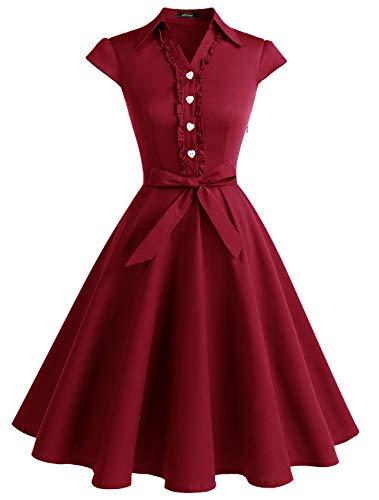 WedTrend 10007 Damen 50er Retro Herzform Knopf Rockabilly Kleid Kurzarm Swing Kleider mit Gürtel Dunkelnrot XL