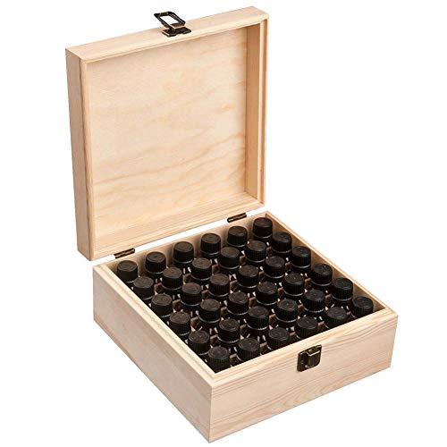 36 Grids Holz Aromatherapie Geschenk-Box Ätherisches Öl Aufbewahrungsbox Mini-Aufbewahrungsbox Aus Holz Mit 25 Löcher Hartschale Tragekoffer, Für Nägel, Strass, Perlen, DIY Handwerk, Ätherisches Öl - Ätherische Öle Nägel