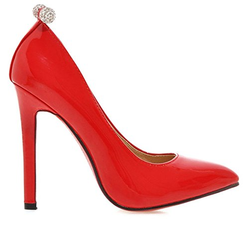 YE Damen Spitze High Heels Stiletto Lack Pumps mit Roter Sohle Strass Party Office Kleid Schuhe Rot