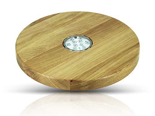Blowglow Shisha Untersetzer aus Eiche für Deine Shisha   Hochwertige Handarbeit   Perfekte Größe: 30cm Durchmesser   LED Lampe dabei