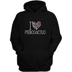 Idakoos I love Pterodactilo colorful hearts - Dinosaurios - Sudadera con capucha