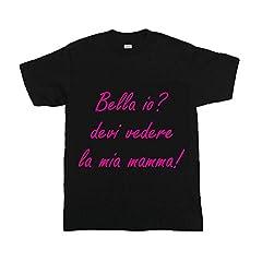 Idea Regalo - T-Shirt Bimbo Maglietta Nera Personalizzata Bello Bella Io Maglia Estiva per Bambini Idea Regalo per la Festa della Mamma - 1-2 Anni