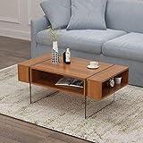 Generic laterale e tavolino in noce ST T Coffee TA mensole soggiorno Side Sto con foglio di stoccaggio lato Helves li le gambe lastra di vetro GS