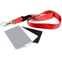 DSLRKIT - Tarjeta de grises del 18% para fotografía (incluye tarjetas negra y blanca y correa)