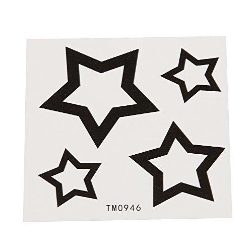 Preisvergleich Produktbild Klebetattoo temporär Sterne einfaches Design hohl schwarz 4 Motive 1 Bogen