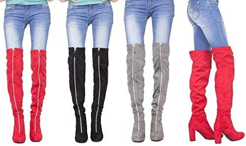 3cdb417673cd Womens Long Over The Knee Boots Front Zip Up Block High Heel Thigh High  Boot Uk - £14.95