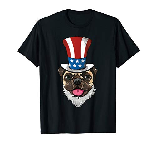 Mops Pug Uncle Sam Hut Lincoln Bart 4th Of July USA T-Shirt (Lincoln Hut Mit Bart)