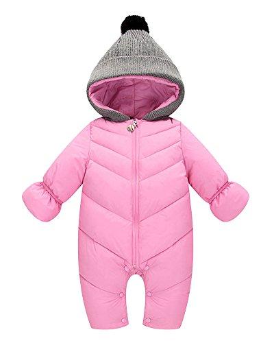 Bébé 0-24 Mois Garçon Fille Épais Chaud Anti-Vent Manteau Doudoune Fermeture éclair à Capuche Bonnet Pink XL