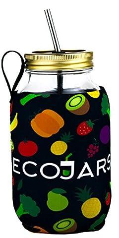 ready2go | Pot Mason égouttage | Fruits Légumes Cozy pour femme | black| 1litre | | Cosy Kilner | en acier inoxydable brosse/paille