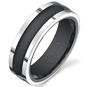 Revoni Two Tone Black Rounded Center 7mm Mens Tungsten Ceramic Wedding Band Ring Size W 1/2, Available in Sizes P to Z