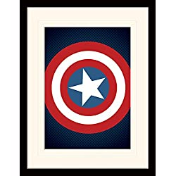 Avengers Assemble 30 x 40 cm montar Los Vengadores escudo del Capitán América montado y impresión enmarcada