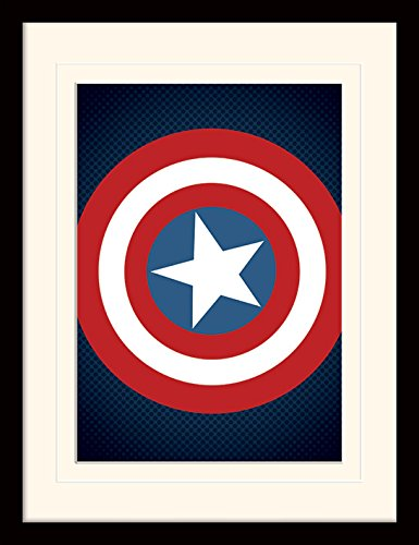 Pyramid International MP11198P-PL Avengers Assemble (Captain America Shield) montiert und gerahmt, mounted 250 gsm Paperwrap MDF, mehrfarbig, 44 x 33 x 4 cm Das Punisher-logo-poster