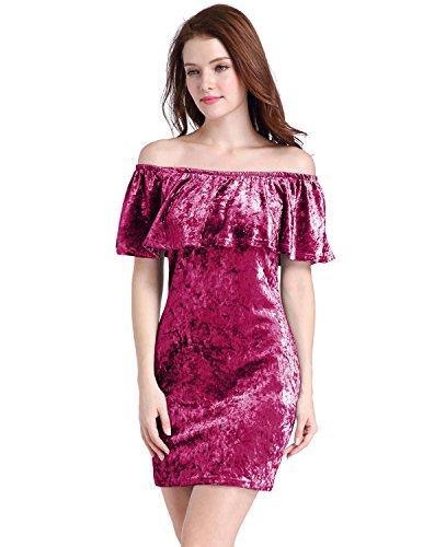 M-Queen Femmes Robe Épaule Off Velours Crayon Robe de Soirée Mariage Cocktail Jersey Moulante Mini Dress Rouge