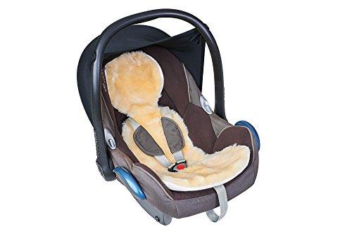 Fellhof 10407 Einlage Unifit  aus Lammfell, für Autositze und Babyschalen, OEKO-TEX® Standard 100 zertifiziert, Größe 30x77 cm, bei max. 30 °C waschbar, Rückseite aus Baumwolle