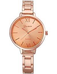Tongshi Moda Mujeres Pequeño Steel Band Analog cuarzo reloj de pulsera Relojes (Rosa de Oro)