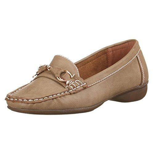 Damen Schuhe, 6806, LEDEROPTIK HALBSCHUHE MOKASSINS Braun