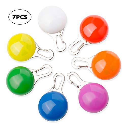 MOKIU 7PCS Hunde Leuchtanhänger Sicherheits Schlüsselanhänger Clip-On LED Licht 3 Blinkmodis für Hunde,Katze,Wandern, Klettern, Camping