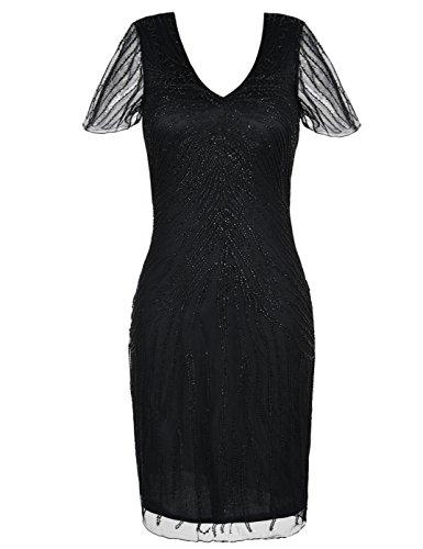 kayamiya Damen Gatsby Kleid Retro 1920er Jahre inspiriert Perlen Art Deco Flapper Kleid M schwarz (Retro Inspirierte Kostüm)