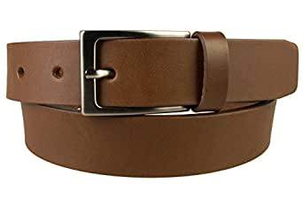 Mens Quality Leather Belt - Gun Metal Finish Buckle - Made in UK, 26-30, Brown