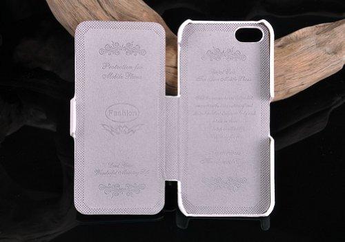 Kepuch Smart Cover Cuir Véritable Étui Housse Coque pour Apple Iphone 5 / 5S - Blanc Blanc