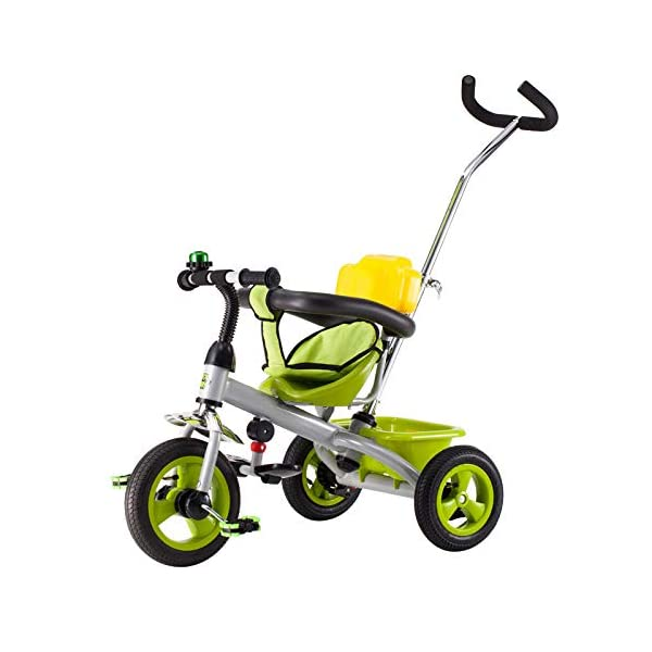 BGHKFF 3 In 1 Children's Hand Push Tricycle 1 To 6 Years 2-Point Safety Belt Children's Pedal Tricycle Rear Wheel With Brake Folding Footrests Kids Tricycle Maximum Weight 25 Kg,White  ★Children's tricycle material: environmentally friendly plastic material, suitable for children aged 1-6, maximum weight 25 kg ★Scientific design function: 360° awning; hand pusher can be adjusted; footrest can be folded; steering linkage; ★Safety design: golden triangle structure, safe and stable; guardrail; rear wheel double brake 1