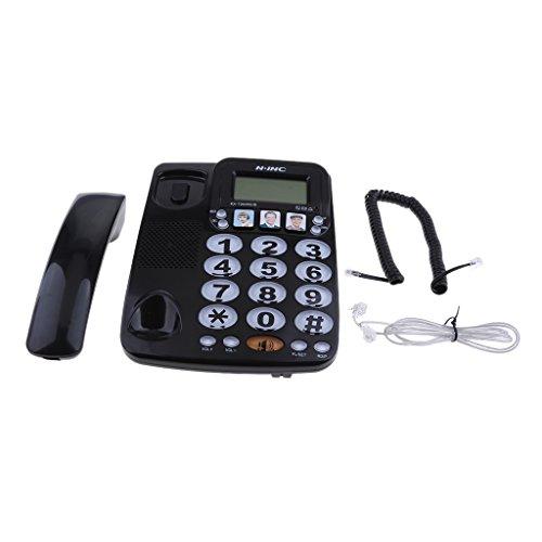 MagiDeal Teléfono Fijo de Casa de Hotel Teléfono de Marcación Rápida con Foto Amplificada Kx-2035cid - Negro