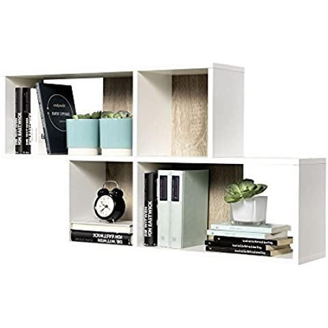 Estantería de pared de estantería de libros de espacio de almacenamiento estantería de Nora de colour blanco/de madera de roble con decoración de