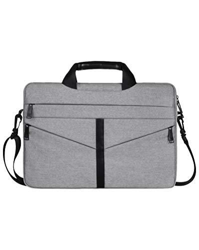 Laptop Tasche Wasserdichte Schultertasche mit Zubehör-Fächern und Tragegriff & Abnehmbarer Schultergurt Grau 15.4