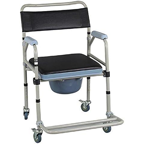 Vasino poltroncina con 4 ruote pieghevole mobile del WC disabili COMMODE sedia WC
