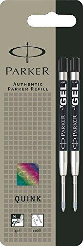 Parker S0881500 Ersatzgelminen Quink (für Kugelschreiber, mittlere Strichbreite, schwarze Tinte, 2er-Pack) (Schwarzer Tinte Kugelschreiber)