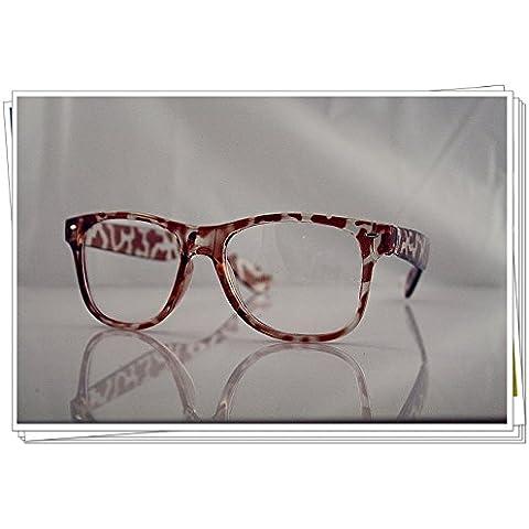 Guscio di tartaruga Wayfarer Geek Nerd Clear Lens Vintage Fashion Occhiali 80s