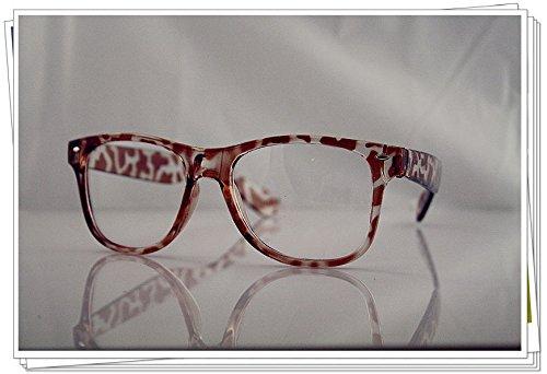 Schildpatt Wayfarer Geek Nerd Clear Lens Retro Vintage Fashion Brille 80s