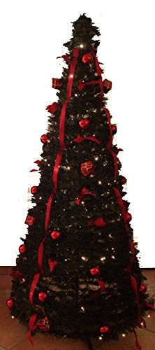 fdl 6ft green with red pop up pre lit instant christmas tree