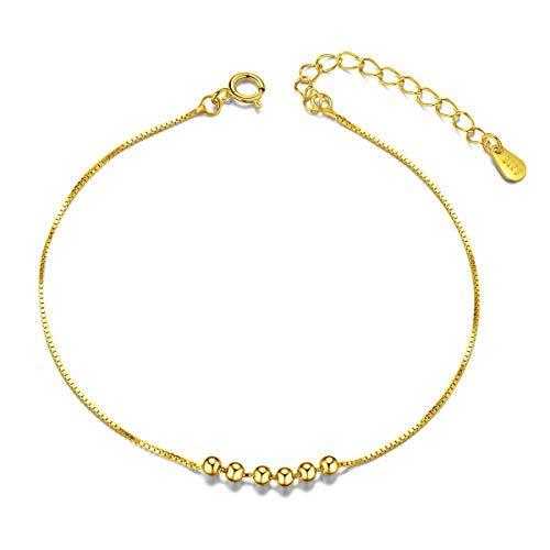 SHEGRACE Semplice Elegante Cavigliera da Donna Bracciale di Caviglia Argento 925 con Sei Piccole Perle Platino Oro rosa Oro 200