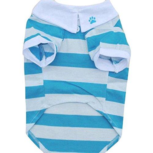Kostüme Mädchen Holloween Niedliche (Haustier Kleidung,WINWINTOM Hunde-T-Shirt Kleidung Lapel Stripe Cotton Puppy (L,)