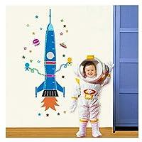Removable Craft Wall Sticker Kids Bedroom Height Measurement Rocket Star Nursery DIY Growth Chart Cartoon Durable PVCV