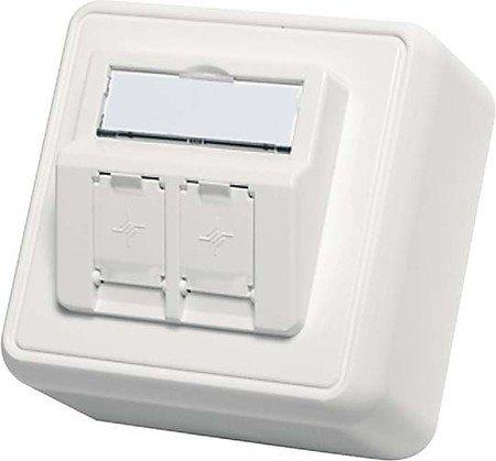 Telegärtner H02000A0092 Aufputzdose Modulaufnahme mit Integrierte Staubschutzklappen 2-Fach reinweiß