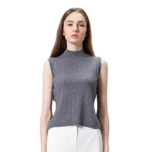 Senza maniche Vest Maglione Donna Alta Elasticity Turtleneck-XS/S-Grigio