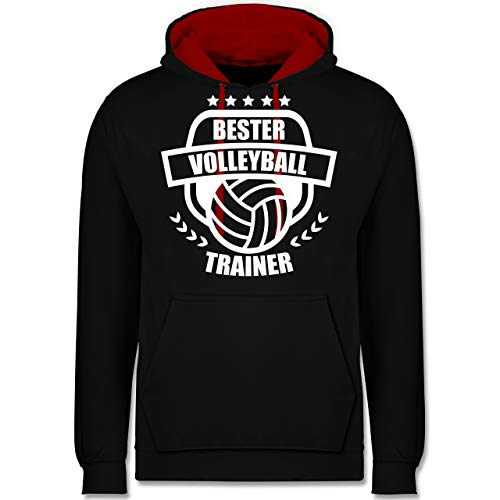 Volleyball - Bester Volleyball Trainer - 5XL - Schwarz/Rot - JH003 - Kontrast Hoodie