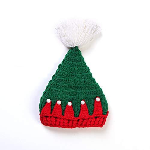 Gestrickte Weihnachtsmütze Rote und grüne Weihnachtsmütze MützeHäkelmützeWeihnachtsfest Requisiten GeschenkeWeihnachtsmütze Größe:19x15cm