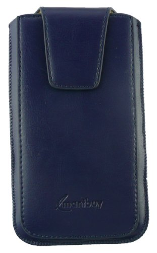 Emartbuy® Sleek Range Blue Luxury PU Leather Slide in Pouch Case Cover Sleeve Holder ( Size LM2 ) With Magnetic Flap & Pull Tab Mechanism Suitable For Intex Aqua Power M  available at amazon for Rs.399